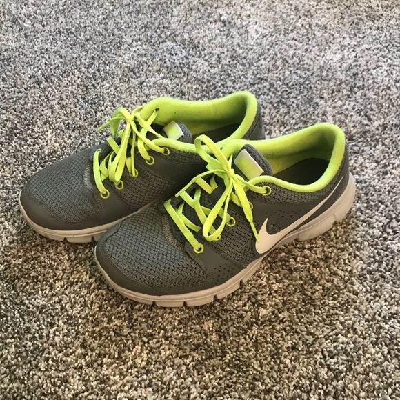 Gray And Neon Yellow Nike Running Shoes